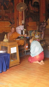 That's me getting blessed by a holy man in Thailand in June.