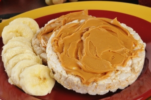 1 Tablespoon of peanut butter or almond butter on a rice cake makes a great snack!